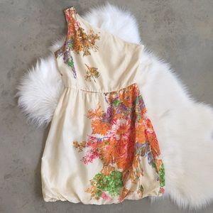 J. Crew Floral Print Silk One Shoulder Dress Sz 4